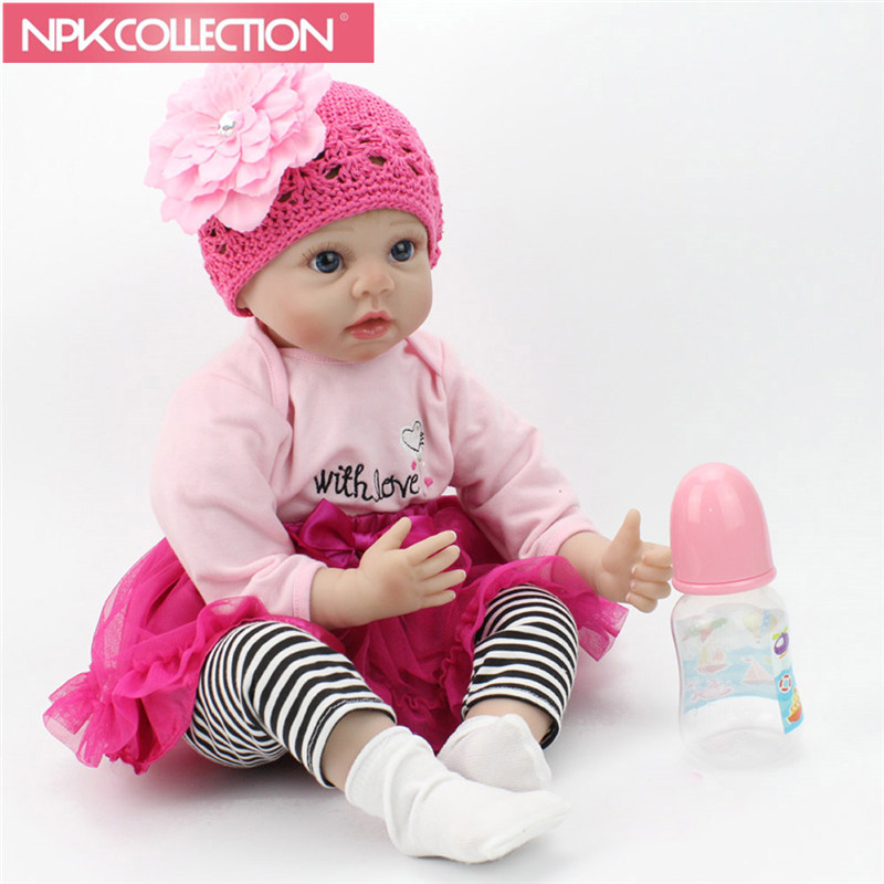 NPK 22 55 cm Fashion Doll Lifelike Doll Reborn Handmade Soft Silicone Reborn Babies Toys Girl Kids Birthday N262 spring new women long dress nightgowns white short sleeved nightdress royal vintage sweet princess sleepwear dress free shipping