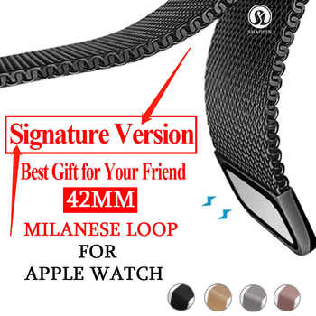 Signature Version Strap Milanese Loop Bracelet Stainless Steel band For Apple Watch Band 42mm Bracelet strap for i watch series - DISCOUNT ITEM  40% OFF All Category