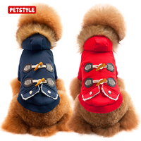 PETSTYLE Classic Dog Fur Collar Thick Warm Clothing Back Horn Button Design Pet Cotton Clothes Dog