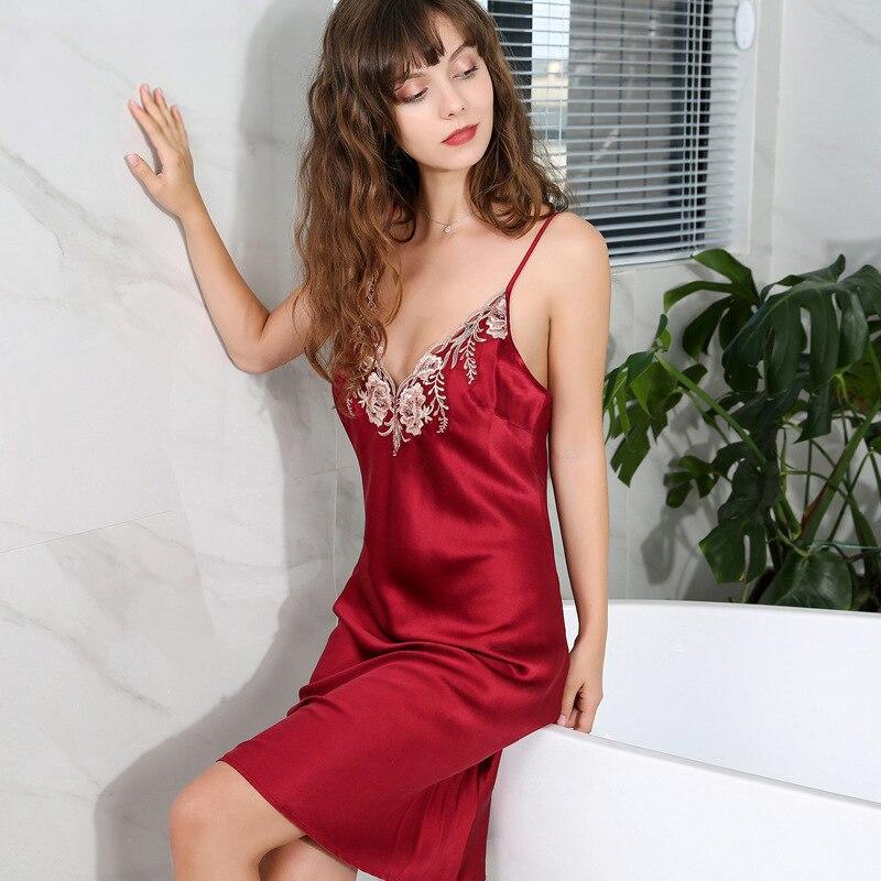 fecb95c19 Vermelho Sexy camisolas de seda longos mulheres elegantes roupas de seda  pura alcinhas senhoras pijama camisola