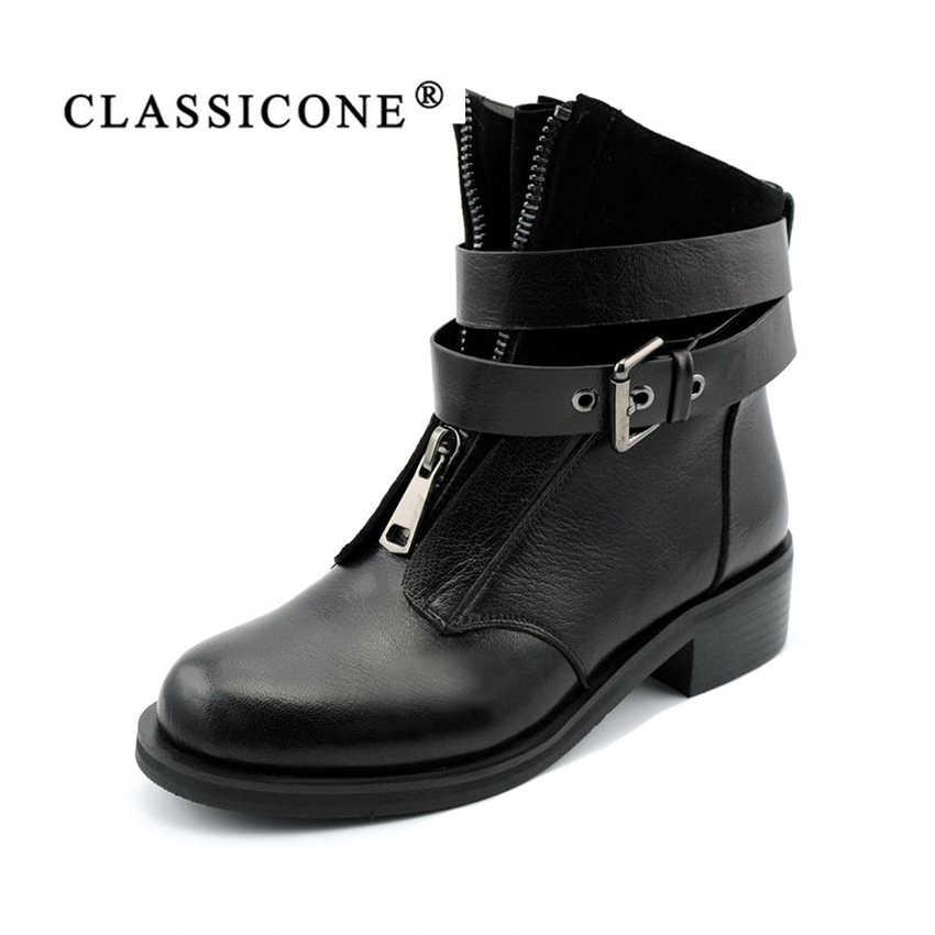 7b85cc8a8c3ea5 CLASSICONE зимние женские ботинки натуральный мех натуральная кожа  Устойчивая к износу подошва железная пряжка зимние женские
