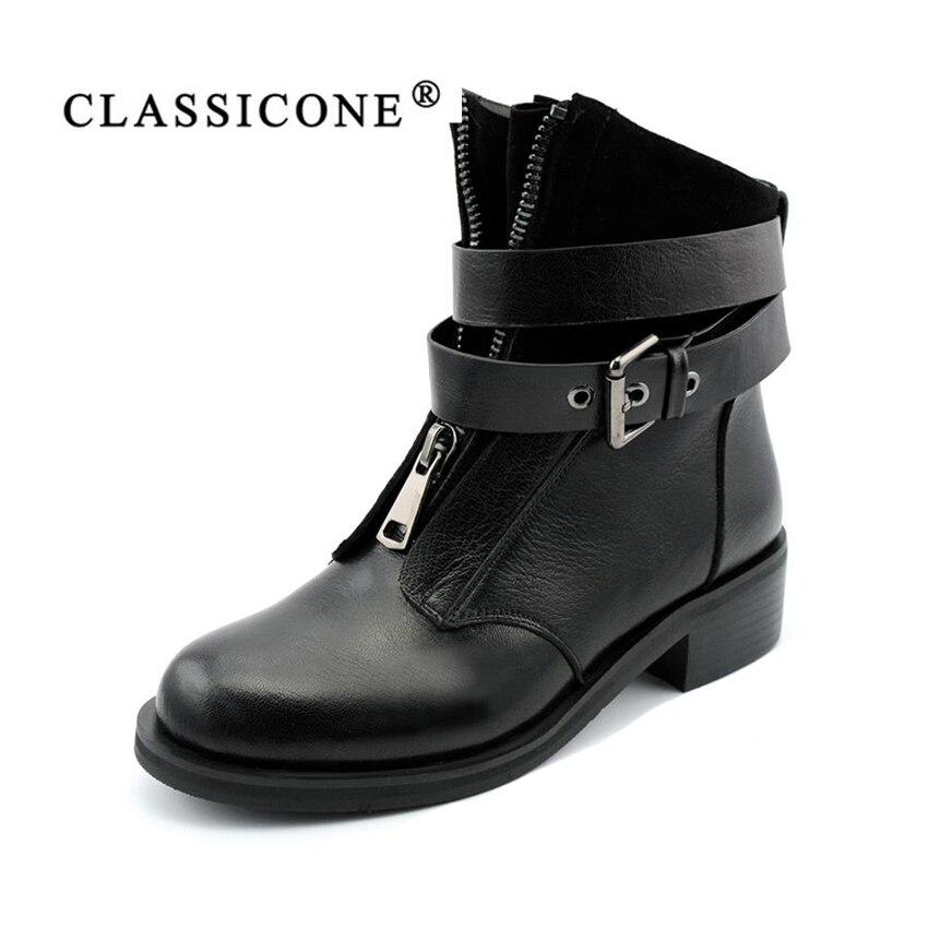 CLASSICONE femmes Bottes D'hiver Chaussures De Luxe noir En Cuir Véritable chaud laine Neige cheville bottes décoration de marque de style de mode
