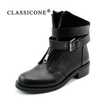 CLASSICONE зимние женские ботинки натуральный мех натуральная кожа Устойчивая к износу подошва железная пряжка зимние женские сапоги женская обувь молния впереди легко носить и красиво стильные полусапожки