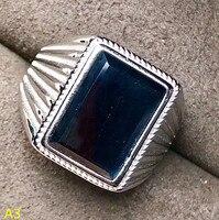 KJJEAXCMY ювелирные изделия 925 чистого серебра коробка ювелирных изделий, натуральный сапфир мужские кольца, большие драгоценности