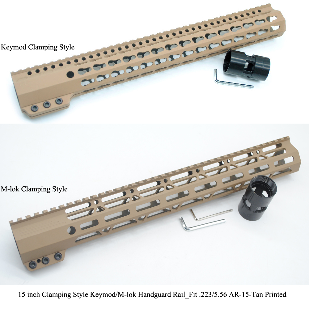 TriRock 15 inch Clamping Style Keymod M lok Handguard Rail Picatinny Mount System Fit 223 5