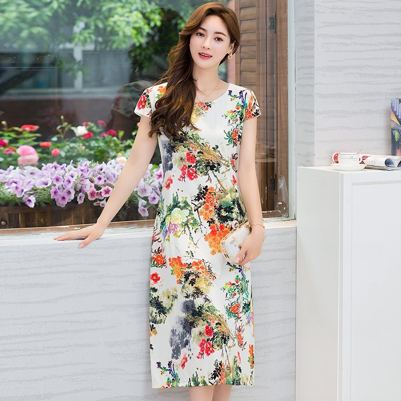 XL-5XL 2019 novas mulheres estilo Solto roupas Confortáveis de Algodão de Impressão Em Torno Do Pescoço de Manga Curta Plus Size 5XL Praia Vestido longo