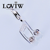 Women style NEW White Zirconia Musical Note Charm Fit chain Bracelet Necklace Fashion Jewelry for Ladies Lovers Gift
