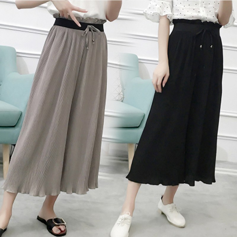 2019 Summer Pleated Women Chiiffon Trousers Elastic Waist   Wide     Leg     Pants   Loose Bow Drawstring Sashes Capris Plus Size S-6XL   Pant