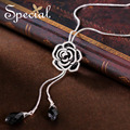 Special New Fashion Enamel Necklaces & Pendants Rhinestones Rose Maxi Necklace Long Jewelry 2017 Gifts for Women S1619N