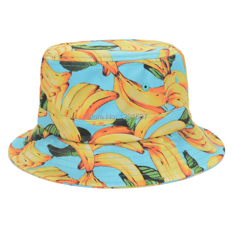 New Lovely Banana Bucket Hats Printed Sun Hat for Women Outdoor Sunbonnet  Chapeau Touca Designer Fisherman Cap Casquette Goldtop 3590b24a5c9