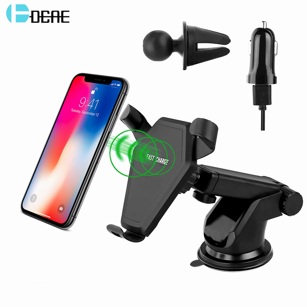 DCAE Car Mount Qi Wireless Charger For iPhone X 8 Plus Samsung S9 S8 10W Fast Wireless Charging Air Vent Car Phone Holder Stand