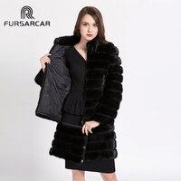 FURSARCAR Detachable Real Mink Fur Coat for Women 2017 Natural Mink Coats Full Pelt Genuine Winter Mink Fur Jacket BF C0500