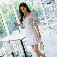 Women Short Sleeve Slash Neck Mini Club Dress Women Ruffle Wrap Lace White Dress Plus Size Robe Femme 2019 Summer Sexy Dress