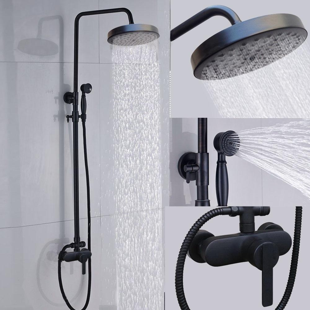 Bathroom Black Shower Set Wall Mounted Round Rainfall ...