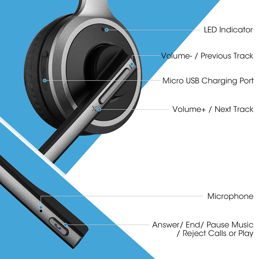 Mpow M5 Bluetooth Headset Wireless Over Head Earpiece Noise Canceling  Headphones with Noise Reduction Mic for Call Center phones
