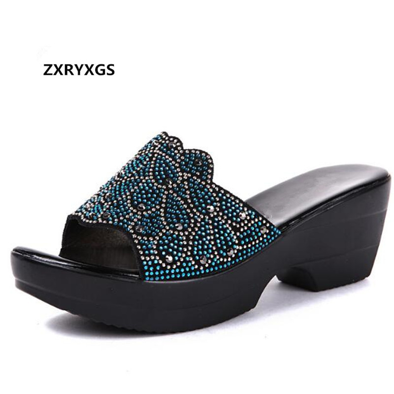 2019 New Summer Women Sandals Genuine Leather Shoes Rhinestones shoes Slippers Large Size Non slip Fashion