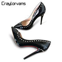 HCraylorvans Top Quality Rivets Shoes Women Pumps 2017 New ARRIVE Patent Leather Thin High Heels Women