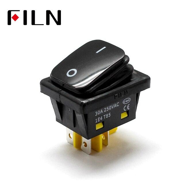 FILN 30A/250 V pesado ducty on off IP67 4 pinos auto barco t85 interruptor de alternância de plástico preto à prova d água rocker interruptor sem led