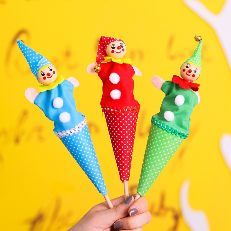 2018 Tricky Cartoon Baby Rattle Toys Wood Cloth Retractable Clown Smiling Face Fun Hide Seek Play Telescopic Stick Doll Toy