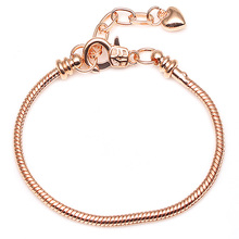 Women's Silver Plated Snake Chain Charm Bracelet