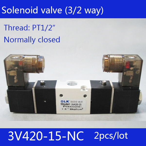 2pcs Free shipping 3V420-15-NC solenoid Air Valve 3Port 2Position 1/2 Solenoid Air Valve Single NC Normal Closed,Double control 1 2bspt 2position 2way nc hi temp brass steam solenoid valve ptfe pilot