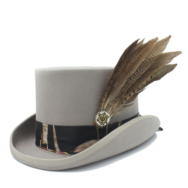 321f2c6fbee17b 15CM Top Hat Women Men Steampunk Top Hat With Handmade Leather Wool Fedoras  Hat / Cylinder Hat/ Chimne
