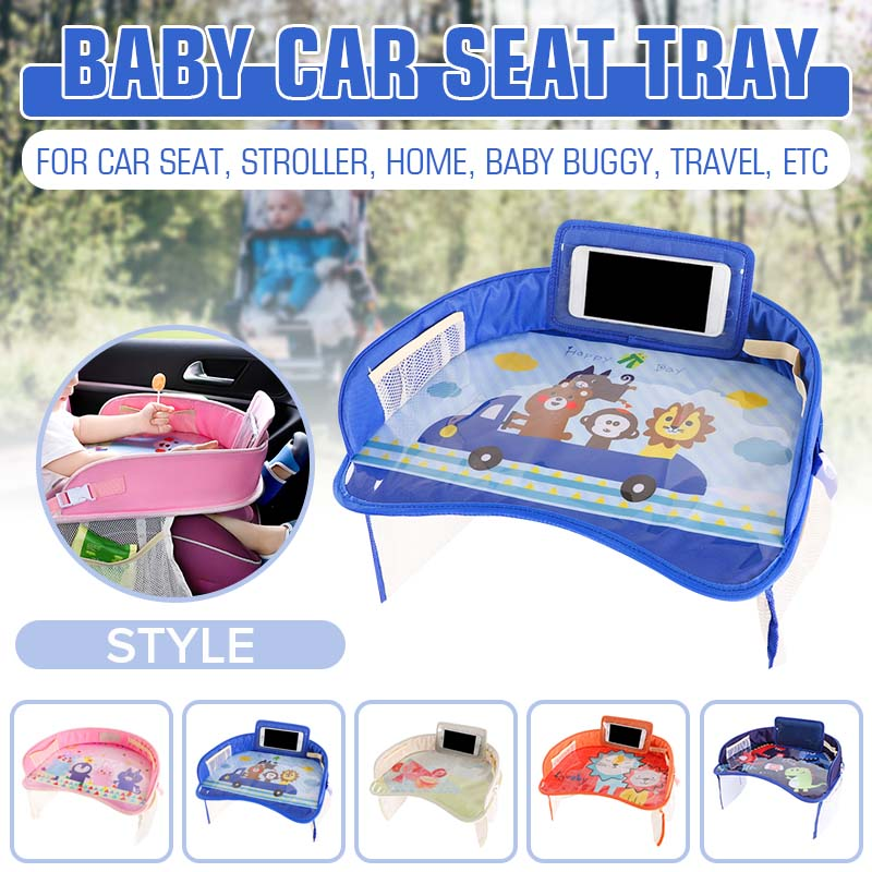 Coche de bebé asiento de seguridad bandeja portátil multifuncional de dibujos animados bebé niño chico asiento de silla de coche juguete beber titular del teléfono móvil