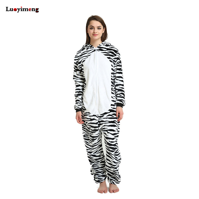 Zebra Unicorn Pajamas For Women Ladies Winter Cute Onesie Flannel Warm Hoodie Pyjama Adult Sleepwear Night-Suit Pijama Unicornio