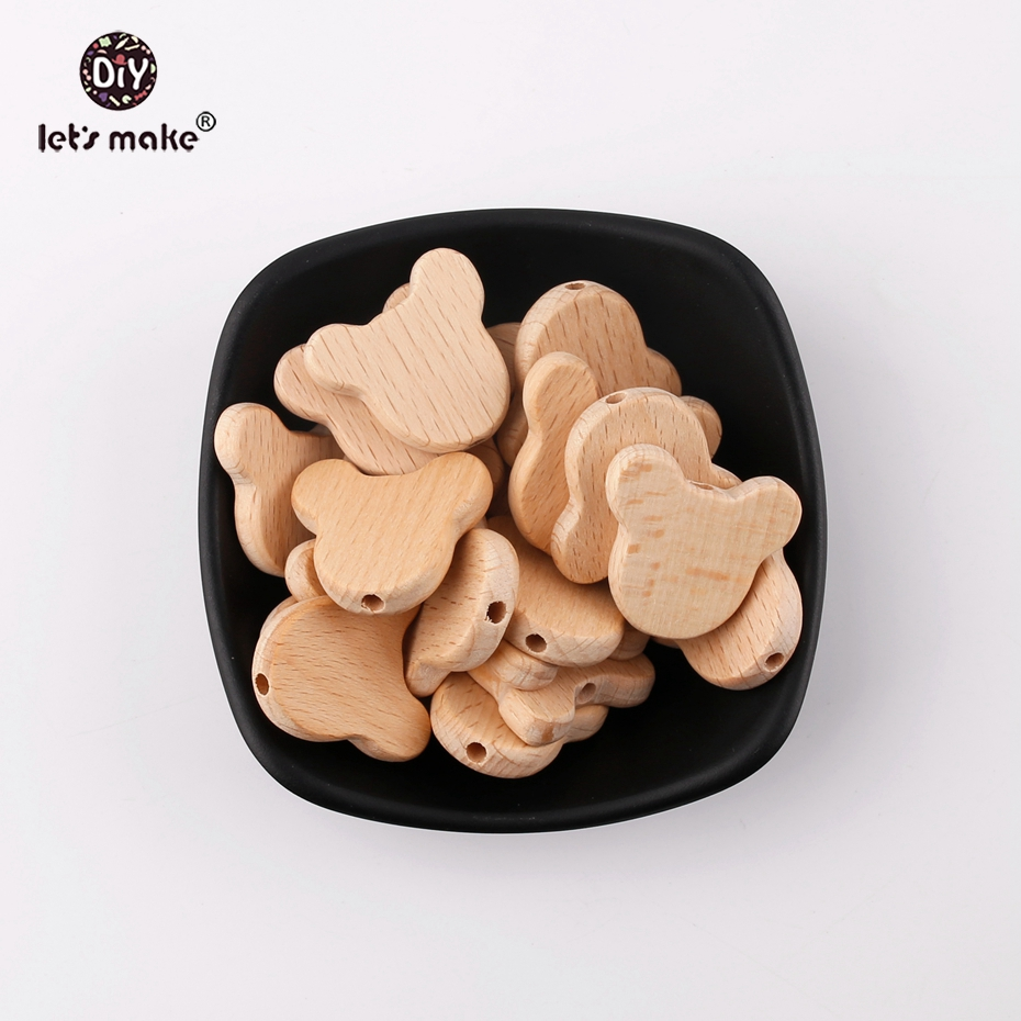Let's Make Natural Wood Bears Chew Beads Jewelry Making For Teeth 20pcs Beech Wooden Teether DIY Dummy Clip Chains Baby Teethers