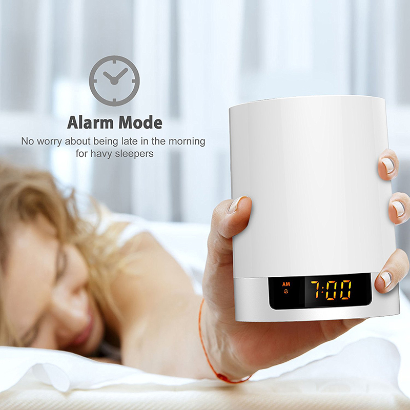 Digital Sensor LED Bedside Lamp + Dimmable Warm Light amp Color Changing LED Alarm Clock with Wireless Bluetooth Speaker Touch
