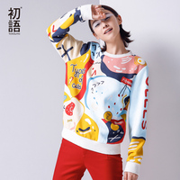 Toyouth 2016 New Arrival Women Casual Cotton Pullovers Sweatshirts Autumn Cartoon Printed O Neck Sweatshirts