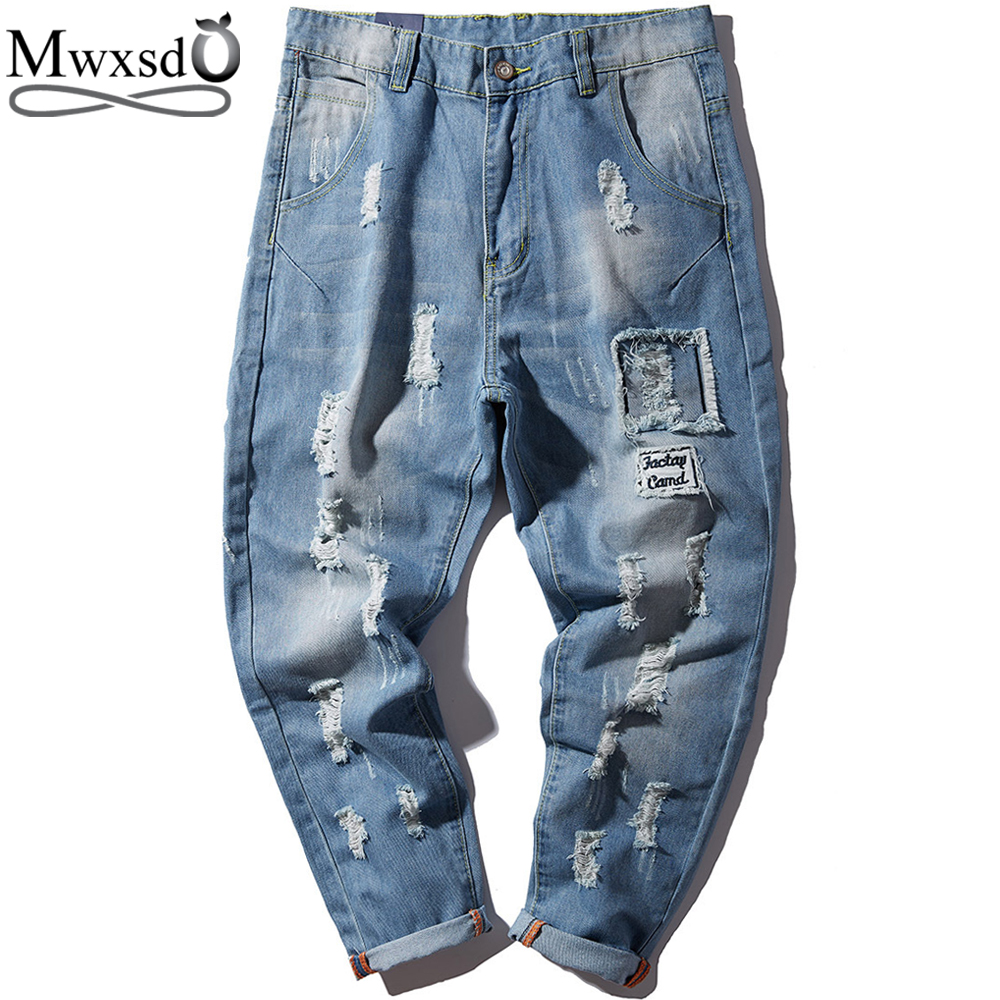 Mwxsd brand men Harem jeans pants male small feet tide brand ripped and hole jeans men's Japanese loose trousers plus size M-4xl