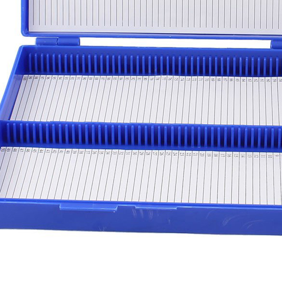 Royal Blue Plastic Rectangle Hold 100 Microslide Slide Microscope Box in Wiring Ducts from Home Improvement