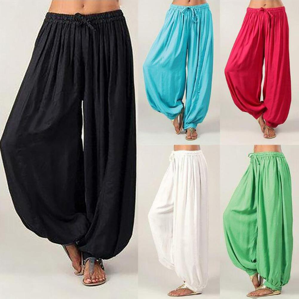 Women Loose Drawstring Cotton Loose Solid Color Wide Leg Long Pants Yoga Harem Trousers