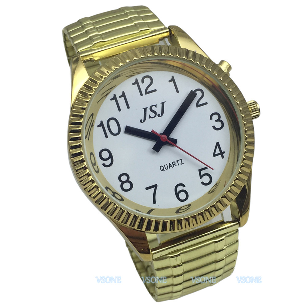 English Talking Watch With Alarm Function, Golden Color, White Face, Talking Date And Time