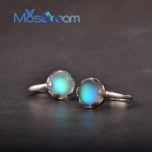 Image 5 - MosDream אור ירח גבירותיי אורורה טבעות s925 כסף כחול אור קריסטל אלגנטי תכשיטי ימי הולדת Romatic מתנה עבור נשים