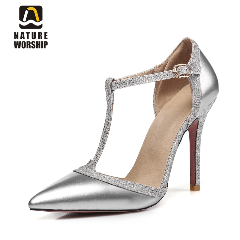 Big size women shoes pumps patent leather shoes for women women high heels pumps women pointed toe t-strap shoes work party shoe women in the summer of 2018 the new patent leather nude wedges pointed toe pump work shoes leisure women plus size 35 40 a23