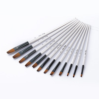 High Quality White 12pcs Oil Painting Brush Set Pointed Flat Nylon Hair Watercolor Pen Brush Art