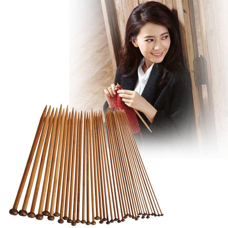 36 unids/lote 18 tamaños de bambú carbonizado Agujas sencillo set crochet suave Agujas aguja artes Herramientas