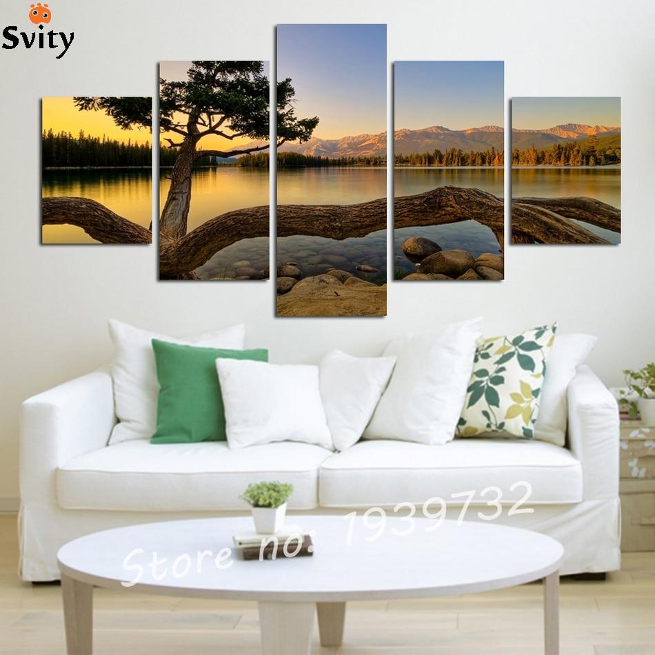 ₩5 pcs Modern Sunset Landscape Canvas oil Painting Wall Art Picture ...