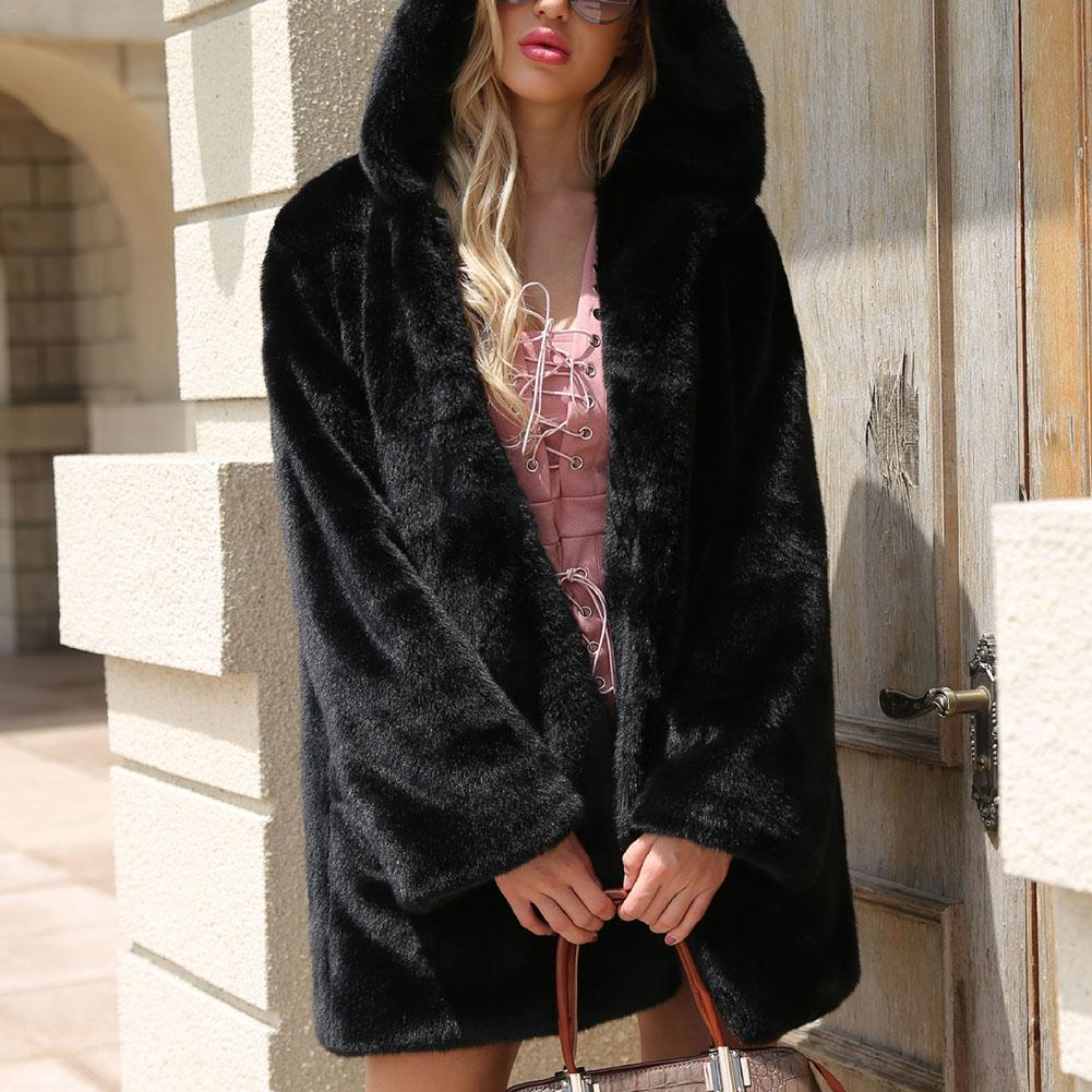 Winter Warm Hooded Large Size Medium Length Solid Color Faux Fur Women 2019 New Casual Long Sleeve Women Fur Coat