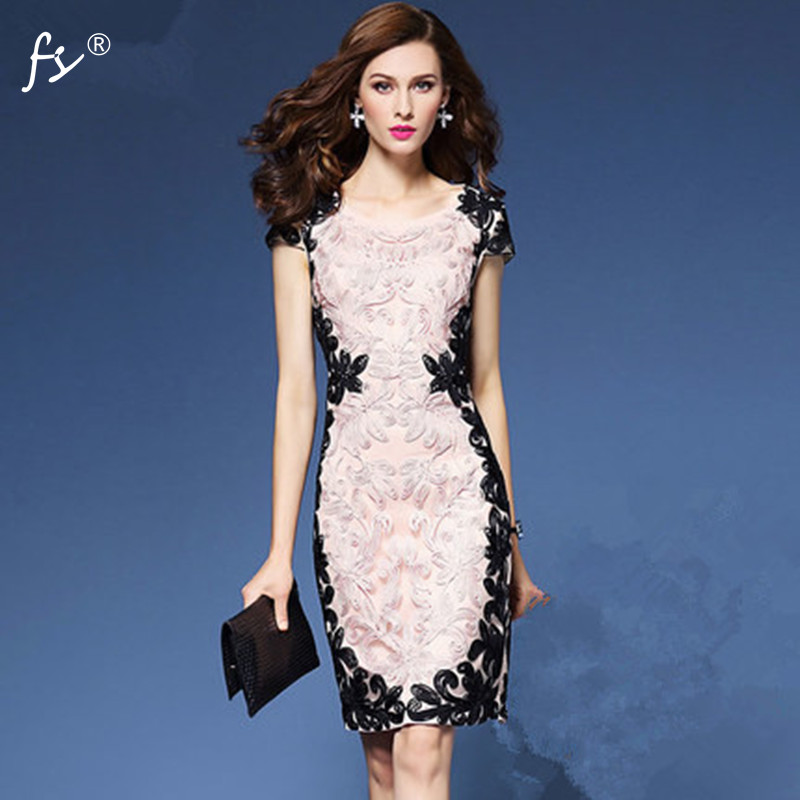 M-3XL Brand Elegant Women Summer Dress Lace Stitching Embroidered Party Dress for Women  6315B