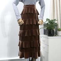 Gold Velvet Skirt Women Cake high Waist Pleated Skirt a line skirt Plus Size 3XL