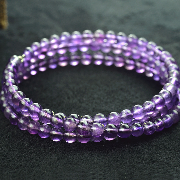 New Fashion 5mm Purple Crystal Beads Tibetan Buddhist Prayer Bead Necklace Gourd mala Prayer Bracelet for Meditation