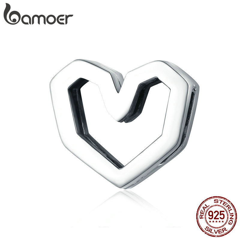 BAMOER Hot Sale Genuine 925 Sterling Silver Love Heart Shape Beads Charm fit Women Bracelets Necklaces Silver Jewelry SCX102BAMOER Hot Sale Genuine 925 Sterling Silver Love Heart Shape Beads Charm fit Women Bracelets Necklaces Silver Jewelry SCX102