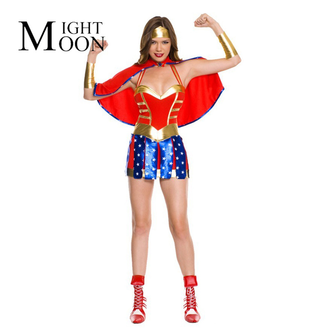 Beautiful MOONIGHT Sexy Adulte Femme Hero Fille Costume Dc Comic Wonder  FF68