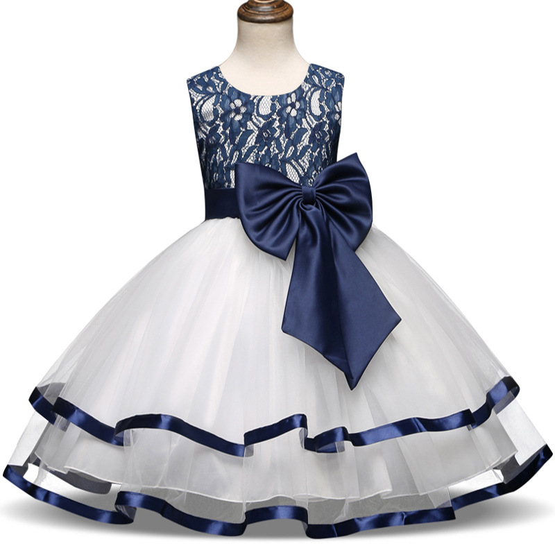 New Bow-knot Lace Embroidery Dress Birthday Party Princess Dresses Sleeveless Wedding Dress for Girl Clothes Carnival Costume