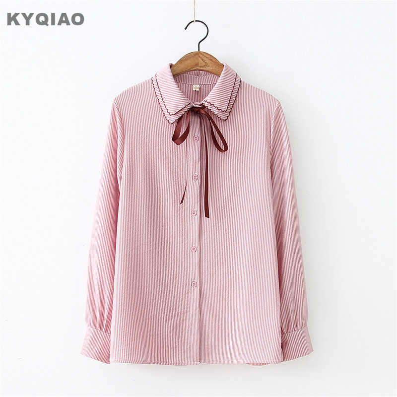 Women's Clothing Kyqiao Lolita Shirt Japanese School Uniform Blusas Mujer De Moda 2019 Mori Girls Autumn Winter Sweet Long Sleeve Bowknot Blouse Rich In Poetic And Pictorial Splendor