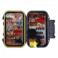 120pcs Fly Fishing Lure Set Simulation Butterfly Flies Hook Trout Lures Fishing Bait Kit with Waterproof Tackle Box Case