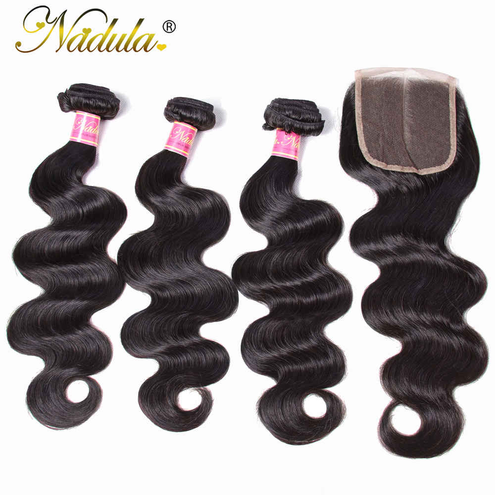Nadula Body Wave Bundles With 4 4 Free Part Middle Part Three Part Lace Closure Indian